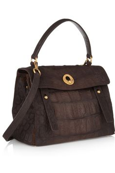 Yves Saint Laurent|Muse Two Medium croc-effect leather and nubuck tote |NET-A-PORTER.COM