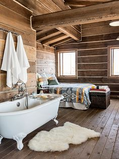 "The cabin is furnished with everything that's necessary—and nothing more. No fancy appliances grace the kitchen, but there is a vintage claw-foot tub in the bedroom. ""The house has a certain simplicity to it that's beautiful,"" Bueno says."