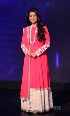 Juhi Chawla looked regal in a pink anarkali by Manish Malhotra at the launch of Sony Pal TV channel