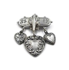 Vintage Sterling Silver Heart Charm Brooch  by zephyrvintage #GotVintage #Vintage #Jewelry