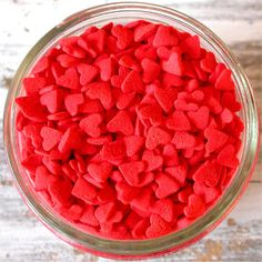 Red Hearts Edible Confetti Sprinkles for cupcakes, cookies, cake pops - 3 oz.