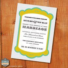 DIY Printable Invitation - Customizable - Wedding Invite, Shower Invitation, Party - Modern - Striped - Typographic