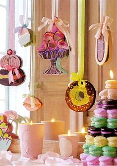 These hanging sweets are cardboard cutouts that were hand-painted and hung from silk ribbon. These just add such a sweet yet elegant touch!