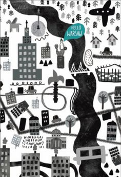 Product Placement - Warszawa z lotu ptaka - mały plakat z ramą