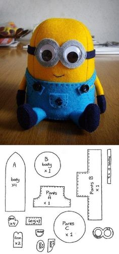 Cute felt toy Minion pattern / Как сшить миньона, выкройка Más