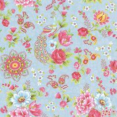 Light Blue Paisley Floral Wallpaper