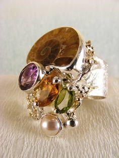 Gregory Pyra Piro #Schmuckkunst Silber und Gold mit #Edelsteinen Unikat #Ring Nr. 5240
