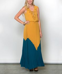 Look at this Sawyer Cove Mustard & Teal Cabana Maxi Dress on #zulily today!