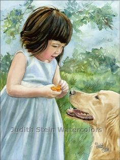 CHINESE GIRL & DOG 11x15 Giclee Watercolor Print