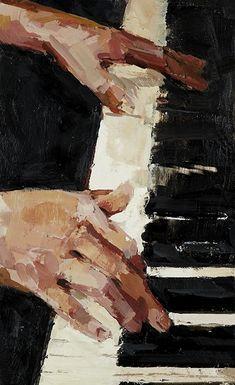 Der Klang von Schwarz und Weiß, Enkaustik, 18 x 11 Zoll - art - The sound of black and white, encaustic, 18 x 11 inches - art - Painting Inspiration, Art Inspo, Piano Art, Music Painting, Hand Painting Art, Black And White Painting, Black Art, Black White, Art Et Illustration