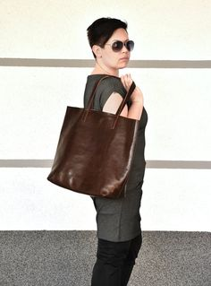 """Brown leather tote LENA handmade by me from best quality vegetable tanned Italian leather. Classic leather bag for everyday use in beautiful, deep, chocolate brown color with a subtle sheen. MEASUREMENTS (approximately): • height- 40 cm (15.74 """") • width - 49 cm (19.29"""") • size of the"""