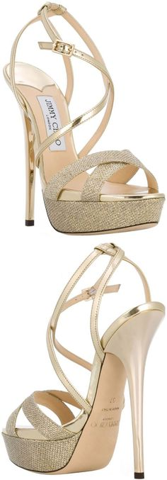 JIMMY CHOO 'Liddie 145' sandals Gold-tone patent leather and leather 'Liddie 145' sandals from Jimmy Choo featuring an open toe, glitter details, crossover straps to the front, an ankle strap with a side buckle fastening, a brand embossed insole, a platform sole, a high stiletto heel and a leather sole. #sandals #jimmychoo #afflink #gold #shoes #heels #jimmychooheelsgold #goldstilettoheels #stilettoheelsjimmychoo #sandalsheelsanklestrap