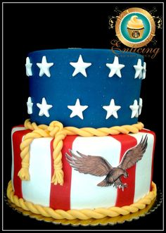 American Flag Cake American Flag Cake This was a request for July So of course the flag is appropriate and speaks volume on such a day. Simple and to the.(Cake Ideas For Men) Army Cake, Military Cake, Military Party, Military Retirement, 4th Of July Cake, 4th Of July Desserts, July 4th, Beautiful Cakes, Amazing Cakes