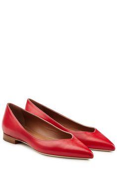 #Malone #Souliers #Ballerinas aus #Leder #> #Rot für #Damen - Mit femininer Spitze und leuchtend rotem Leder werden diese Ballerinas von Malone Souliers zu einem Everyday > Essential mit Frische > Kick für schlichte Outfits  >  Rotes Leder, spitze Zehenkappe  >  Schmaler Lederabsatz  >  Dazu? Einfarbige Culottes, Jeans oder Daydresses
