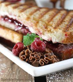 Raspberry (Strawberry) Cream Cheese Paninis using Panera Bread.