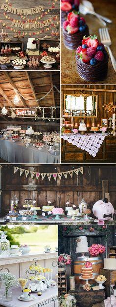 Rustic Chic Fall Barn Wedding Dessert Table Decors
