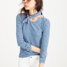 Long-sleeve painter T-shirt in indigo stripe : Long sleeve   J.Crew