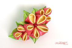 Spring Cherry Blossoms Kanzashi Fabric Flower Hair Barrette Crimson Red and Yellow. Flower Hair Bows, Flowers In Hair, Fabric Flowers, Flower Art, Hair Barrettes, Hairbows, Headbands, Wonderful Flowers, Kanzashi Flowers