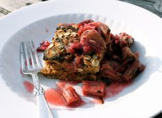 Simple Strawbery Cake with Grilled Rhubarb Vanilla Sauce by My New Roots
