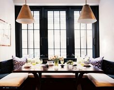 Japanese style windows + benches... dining table envy!