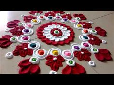 Innovative and Ceative Rangoli Design Using Spoon# Easy Rangoli by Shital Mahajan. Simple Rangoli Designs Images, Rangoli Designs Flower, Rangoli Border Designs, Colorful Rangoli Designs, Rangoli Ideas, Rangoli Designs Diwali, Diwali Rangoli, Flower Rangoli, Beautiful Rangoli Designs