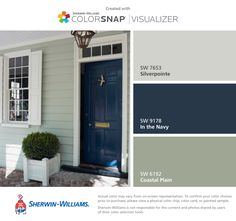 I found these colors with ColorSnap® Visualizer for iPhone by Sherwin-Williams: Silverpointe (SW 7653), In the Navy (SW 9178), Coastal Plain (SW 6192). #exteriorpaintcolours