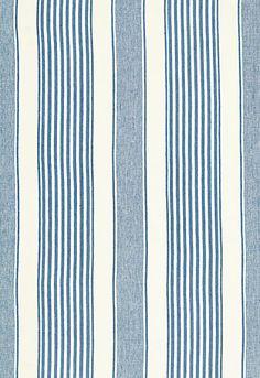 #Schumacher Summerville Linen Stripe Fabric 66090 Ocean; Breakfast Room Accent Fabric