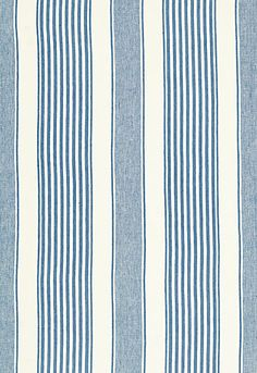 #Schumacher Summerville Linen Stripe Fabric 66090 Ocean; Breakfast Room Accent Fabric