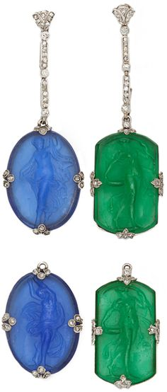Platinum and diamond pendant earrings with green and blue glass interchangeable cameos of women in Grecian dress. These earrings can be worn three different ways.    Note: Glass cameos are probably French, ca. 1910. Via 1stdibs.