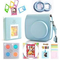Hellohelio 7in1 Accessories Bundle Set for Instax Mini 8 8 Instant Film Camera  Blue -- Be sure to check out this awesome product.
