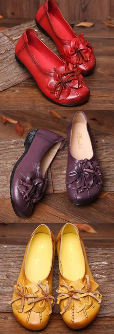 $27.81 Socofy Flower Tassel Soft Leather Slip On Flat Casual Vintage Shoes,Leather Vintage Shoes,Women Leather Flats,Women Shoes