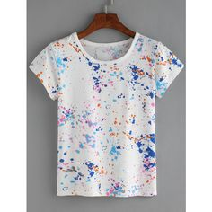 Colorful Paint Splash T-shirt (1.508 KWD) ❤ liked on Polyvore featuring tops, t-shirts, white, multi color tops, white short sleeve top, white top, stretchy tops and stretch top
