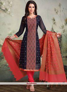 Buy Navy Blue Churidar Salwar Kameez For Sangeet Online Salwar Neck Designs, Kurta Neck Design, Kurta Designs Women, Blouse Neck Designs, Sarara Dress, Churidhar Designs, Churidar, Salwar Kameez, Fancy Suit