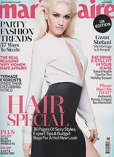 Gwen Stefani looks fierce on the cover of Marie Claire UK's January 2013 issue V Magazine, Fashion Magazine Cover, Magazine Covers, Marie Claire, Cosmopolitan, Vanity Fair, Gwen Stefani Pictures, Error, Gwen Stefani Style