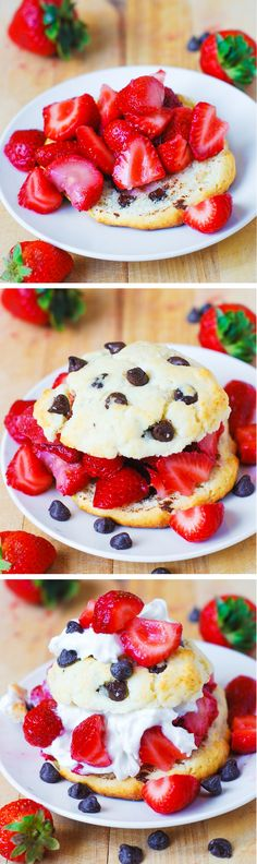 It's like eating huge, crispy on the outside and soft on the inside chocolate chip cookies with strawberries and syrup! Try this recipe in your new apartment home at The Frasier! Just Desserts, Delicious Desserts, Dessert Recipes, Yummy Food, Tasty, Yummy Treats, Sweet Treats, Profiteroles, Strawberry Recipes