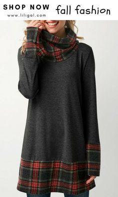 46caaa17e0 USD31.58 Patchwork Plaid Cowl Neck Dark Grey T Shirt #liligal  #fallfashion2018 Свободный