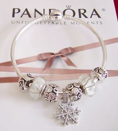 """ Let It Snow"" Authentic New Pandora Bangle with Pandora Charms 