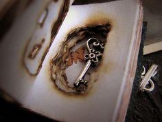 "Necklace ""Keep the Key"". Book-pendant. Necklace key. Book of Shadow. Grimorio. Tiny book. Goth pendant. by ArteNacosta #italiasmartteam #etsy"