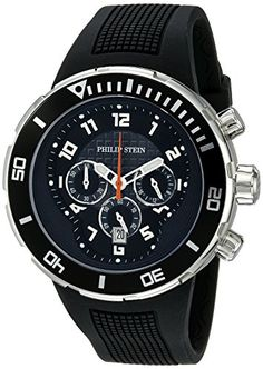 Men's Wrist Watches - Philip Stein Mens 33XBRB Active Black Rubber Strap Watch * Want additional info? Click on the image.