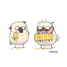 Popsicle Envy Animal Paintings, Animal Drawings, Pug Cross, Pug Illustration, Pug Cartoon, Sweet Drawings, Pugs And Kisses, Pug Art, Funny Posters