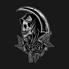 Shop Grim Reaper Scythe Death Skull with Roses Vintage Tattoo Flash American Traditional vintage tattoo t-shirts designed by MerchFrontier as well as other vintage tattoo merchandise at TeePublic. Tattoo Tod, Death Tattoo, 1 Tattoo, Tattoo Drawings, Feather Tattoos, Skull Tattoos, Rose Tattoos, Body Art Tattoos, Sleeve Tattoos