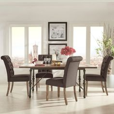 Homelegance 5 Piece Industrial Dining Set with Dark Gray Tufted Chairs - 5099-72(MTL)(5PC)E206DGL