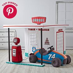 Rather than have your kids play in an actual garage, try letting them play with this garage playhouse. It's cleaner, less noisy, and includes tons of features like a mesh window, removable air pump, and fancy sign.