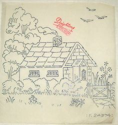 Vintage Deighton embroidery transfer - Country Cabin with gate hedge & trees