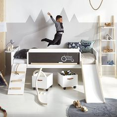 LIMITED EDITION PLAY, LEARN & SLEEP BED by Lifetime | Scandi Style Kids Room | Nordic Kids Bedroom | Fun Kids Bed | Alpine Themed | Mountain Wall Art