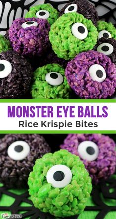 Monster Eye Balls Rice Krispie Bites – these yummy, bite-sized balls of crunchy, marshmallow-y delight have a creepy monster eye that is sure to scare the kids! This Halloween dessert is easy to make and even better to eat. Halloween Cupcakes, Halloween Brownies, Dulces Halloween, Postres Halloween, Dessert Halloween, Halloween Treats For Kids, Halloween Party Snacks, Halloween Goodies, Holiday Treats
