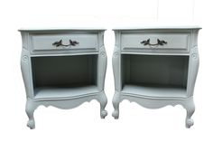 Shipping not included, contact us for more info.  Pair of Country French 'Serenity Blue' Chalk Painted Nightstands/Side Tables  Offered is a great Pair of Country French 'Serenity Blue' Chalk Painted Nightstands/Side Tables.  The pair has a great look with nice lines and design.  In