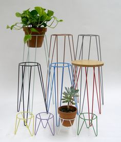 Copper Metal Wire Plant Stand Mid-Century Inspired by WirelyHome
