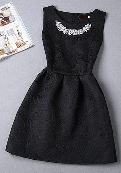 Black Plain Pleated Rhinestone Round Neck Sleeveless Mini Dress