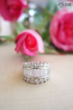 Unique 3 Row 2 carat Round and Baguette Cut Gatsby Era Engagement Ring, Man Made Diamonds, Wedding, Bridal, Sterling Silver